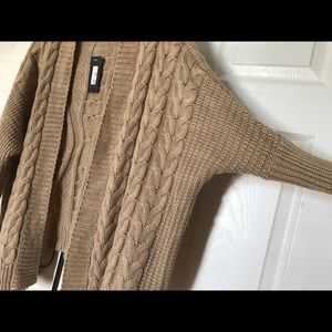 Dolman Sleeves Solid Open Knit Cardigan